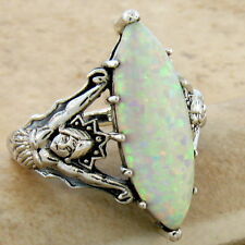 Goddess Ring White Lab Opal Victorian 925 Sterling Silver Size 7, #615