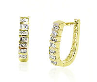 10K Yellow Gold Diamond Hoop Earrings Round & Baguette Oblong 5/8 Inch .25ct