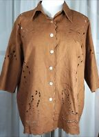 Susan Graver 1X shirt linen 3/4 sleeve cut outs buttons brown qvc new with tag