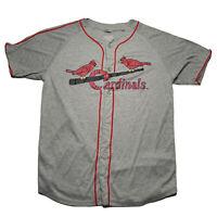 Vintage St Louis Cardinals Baseball Jersey Men's Size XL Button Down Gray Promo