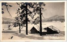 RPPC BIG BEAR LAKE , CA Winter  LAKEVIEW  PINES  & CABINS  c1920s Postcard