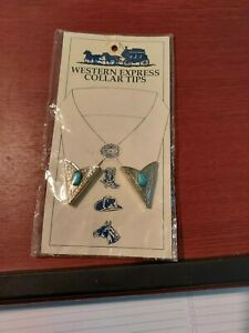 Western Express presents you with a real nice set of Collar Tips with Turquoise