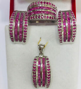 Solid Silver 925 Cluster Band Pendant Earring Ring With Natural Ruby23.75GM(399$
