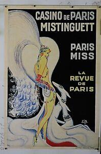 "Mistinguett Casino de Paris Gesmar rare vintage poster 24"" X 36"" NOS (b381)"