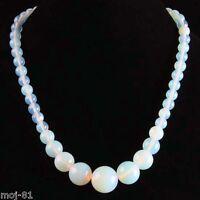 "Beautiful Handmade Fire Opal Opalite Gemstone Round Beads Necklace 17"""