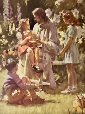 """1950s """"What Happened To Your Hand?"""" Framed Print Jesus & Children Harry Anderson"""