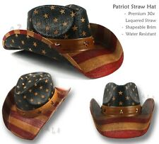【oZtrALa】30x Straw Cowboy HAT USA American Flag Western Men Womens p-leather US