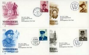 GB 1974 Churchill, Scarce Set of 4 Art Craft USA illustrated FDC's