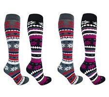 4 Pairs of Women's Knee High Fair Isle Design Thermal Socks Size 4-7 Sk238