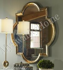 "Designer 40"" HAMMERED GOLD QUATREFOIL Wall Mirror Metal Square Vanity Horchow"