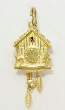 14k Yellow Gold Cuckoo Clock Mechanical Estate Pendant Charm