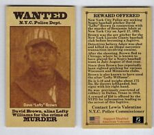 Lefty Brown AKA Williams Negro League star pitcher NYC, wanted for murder $10 BV