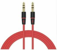 1.2M Red 3 Pole 3.5mm Male to Male Aux Audio Extension Cable For Speaker Car Mp3