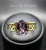 9K Gold 9ct Gold Rose de France Amethyst and Diamond Ring Size N 2.7g
