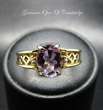 9ct Gold Oval cut Rose de France Amethyst and Diamond Ring Size N 2.7g