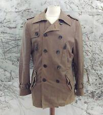 """ZARA MAN en coton marron trench coat. 21"""" Pit-To-Pit, 33"""" Longueur, petit."""