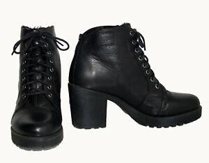 VAGABOND Black Genuine Leather LaceUp Faux Fur Lined Women's Ankle Boots Size 38