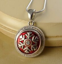 SNOW FLAKE red metal snap button pendant necklace gifts for women girls jewelry