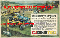Corgi Toys 74 69 Ford Massey Ferguson Tractor original 1969 Advert Poster Sign