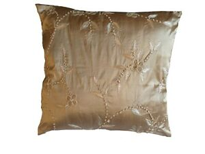 Luxurious Gold Embroidered floral dupion silk cushion COVER ONLY