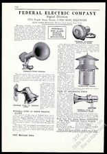 1931 Federal Electric fire engine siren city warning alarm photo trade print ad
