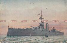 "Royal Navy Postcard.  HMS ""Audacious"" Battleship. Mined off Ireland. c 1909"