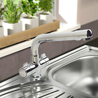 MODERN SWIVEL SPOUT TWIN HANDLES MONOBLOC KITCHEN SINK MIXER TAP HEAVY DUTY