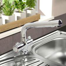 Moderno Girevole Beccuccio TWIN MANICI Monobloc Kitchen Sink Mixer Tap HEAVY DUTY