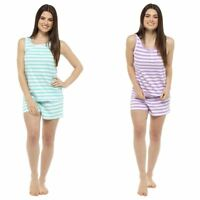 Womens Follow That Dream Ladies Cotton Rich Shorts Vest Pyjama Set Heart/Stripe
