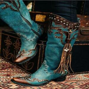 Womens PU Leather Ethnic Style Tassel Studs Zip Knee High Cowboy Boots Shoes SKG