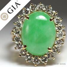 GIA CERTIFIED NATURAL GRADE A JADE CABOCHON DIAMOND RING 14K YELLOW GOLD (SZ 5)