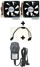 Cooler Kit-12V Power Supply AC Adapter Plug Pack+Splitter Cable+2x 80mm DC Fan