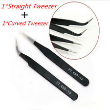 2pcs Eyelash Extension Tweezers Straight & Curved Vetus Black Eyelash Tweezer TY
