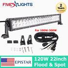 22INCH 120W FLOOD & SPOT LED WORK LIGHT BAR OFFROAD LAMP TRUCK SUV ATV 4WD + KIT