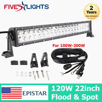 22INCH 120W FLOOD & SPOT LED WORK LIGHT BAR OFFROAD LAMP TRUCK SUV ATV 4WD + KIT