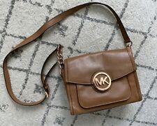 Michael Kors MARGO Leather Messenger Crossbody Bag Brown Rose Gold 38H3XMOM1L