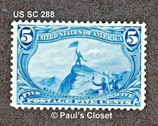US SC 288 FREEMONT ON THE ROCKY MOUNTAINS 5¢ BLUE 1898 MHR OG F/VF