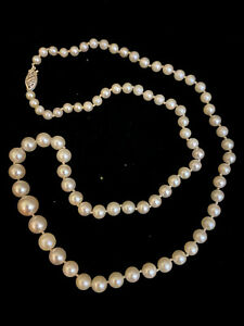 """Vintage Pearl Necklace with White Gold Clasp 19"""""""