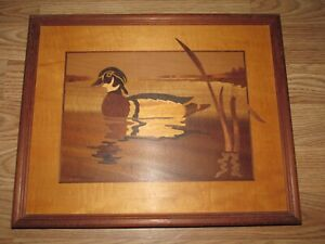 Wood Frame HUDSON RIVER INLAY Signed Nelson WOOD DUCK Wood Inlay 15x12 Marquetry