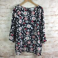 J. Jill Womens Black Red Floral 3/4 Sleeve Top Blouse Size Large