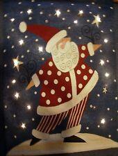 """EUC Lighted Wall Tapestry w/Dowel, Fashionista Santa, 36""""Tall x 34"""" Wide"""