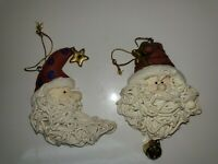 Set of 2 Vintage SANTA CLAUS Christmas ornaments bell stars