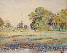 Henri BARRIERE (XX) aquarelle paysage postimpressionniste impressionnism
