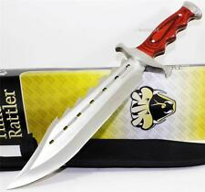 Timber Rattler Sinful Spiked Full Tang Bowie Hunting Skinning Knife + Sheath NEW
