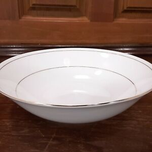 "Tienshan Fine China Classic Gold 9"" White Vegetable Serving Bowl w/ Gold Bands"