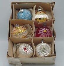 Vtg Germany Austria Lot Of 6 Mercury Glass Christmas Ornaments Indented Stencil