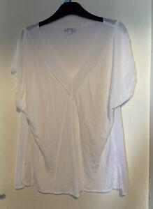 REISS - SYBILL 100% Viscose White V Neckline Sleeveless Pullover Sheer Top L