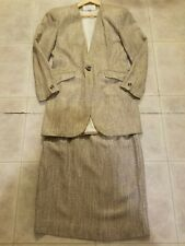 CHRISTIAN DIOR WOMENS Brown Tan Black LINEN BLEND TWEED SKIRT SUIT SIZE 6 vintag