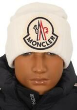 NEW MONCLER WHITE CURRENT COLLECTION LOGO WOOL BEANIE HAT ONE SIZE