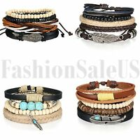 Men Women Pack Wood Beaded Leather Charm Bracelet Braided Wrist Cuff Gift 4 Sets